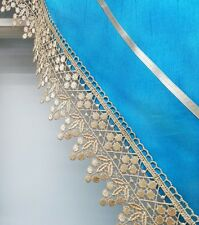 READY IN US. MODERN PRINCESS 3pcs lace kitchen curtain set. TOPAZ BLUE color.