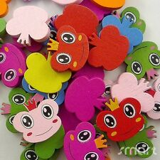 50pcs Mixed Colors Frog Shape Cartoon Wood Beads Lot Craft/Kids Jewelry Making