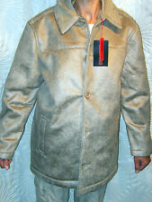 "BNWT MENS FAUX SHEEPSKIN SAND COLOURED HIP LENGTH OVERCOAT SIZE MEDIUM 40"" CHEST"