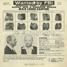 Wanted Notice - Max Louis Cantor/Numerous Charges - FBI - 1961