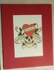 "Matted Print Ed Hardy Tatoo Art ""Love Kills Slowly""  8 x 10"" Sealed Red Mat"