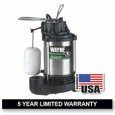 Wayne 1 HP Stainless Steel Cast Iron Submersible Sump Pump w/ Vertical Float ...