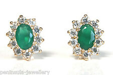 9ct Gold Green Agate Cluster studs earrings Gift Boxed Made in UK