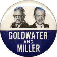 1964 Jugate Barry GOLDWATER William MILLER Campaign Button (2355)