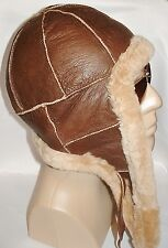 NEW! mens Sheepskin Russian Bomber - Aviator Hat  Real Leather fur size L-XL