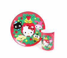 Sanrio Hello Kitty Christmas Holiday Season Character Melamine Plate & Cup Set