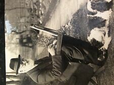 m3a original photograph man on bench dog in park undated bw