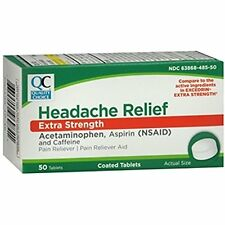 2 Pack QC Headache Relief Extra Strength 50 Tabs (Compare to Excedrin) Each