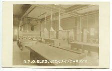 Keokuk IA B.P.O. Elks Pool Table Room RPPC Real Photo Postcard