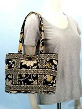 Vera Bradley Yellow Bird SMALL TIC TAC TOTE Bag Purse Black Floral Med $55 GREAT