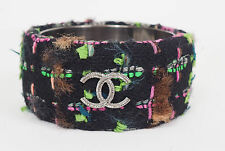 CHANEL Runway 13A CC Logo Multi-Colored Wool Tweed Bangle Bracelet Size M