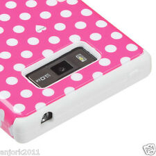 LG Splendor Venice Optimus Showtime L86C T Armor Hybrid Case Pink White Dots