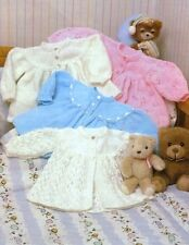 """BABY OR DOLLS CLOTHES KNITTING PATTERN DK  & 4 ply BABY LACY JACKETS 14-18"""""""