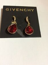 $38 Givenchy Red Crystal Gold Tone Pave Teardrop Earrings #672