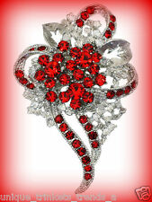 ROSE RED CRYSTAL RHINESTONE FLOWER HEART CORSAGE BROOCH PIN~MOTHERS DAY GIFT