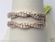 Rose Gold Wave Design Solitaire Enhancer Diamonds Ring Guard Wrap Jacket 1/2ct