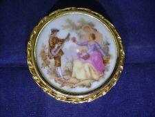Vintage Porcelana De Limoges la Rin Broche Pin Marco De Oro Escena Pastoral Francia