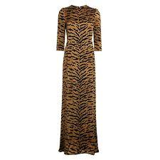 Maison de Hackney Tigre Oriel 100% soie robe longue-taupe-taille 6-rrp £ 375