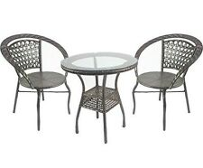 Set of 2 Chair and Table Outdoor Patio Wicker Rattan Garden Furniture