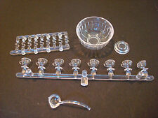 CHRYSNBON DOLLHOUSE MINIATURE CRYSTAL PUNCHBOWL WITH LADLE CUPS HOOKS BOWL BASE