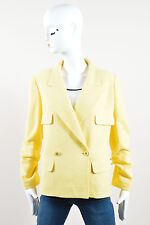 Chanel 98C Yellow Wool Cotton 'CC' Button Double Breasted Blazer Jacket SZ 42
