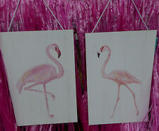 2 PINK FLAMINGO PLAQUE Male & Female HAWAIIAN LUAU Party Sign White Wash Board
