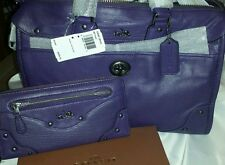 RARE OPPORTUNITY! Coach Rhyder Satchel Crossbody Shoulder in PURPLE with WALLET!