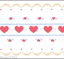 Red Heart Floral Flower Ribbon Lace Baby Nursery Girl Kid Small Wallpaper Border