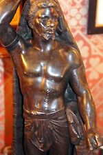 Black Muscular Male Slave Gas Newel Post Lamp from New Orleans Home