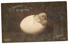 RPPC Rotograph A Happy Easter, Cute Baby Chick Hatching Egg Real Photo Postcard