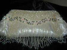 NEW FROM ITALY MANDARINI IVORY BEADED EVENING SHOULDER/ CLUTCH BAG