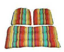 3 Pc Set ~ Indoor / Outdoor Wicker Cushion Set ~ Turquoise, Yellow, Coral Stripe