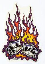 LUCKY HOT FLAMING DICE GAMBLER  HOTROD VEGAS BUMPER STICKER/Vinyl DECAL Tidwell