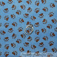 BonEful Fabric FQ Cotton Quilt Blue Brown Bear Cabin Camp PAW Sm Print Boy Scout