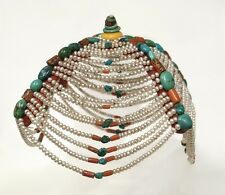 Antique or semi-antique monk hood, Tibet, pearls, turquoise, coral