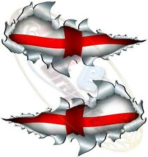 Medium St George Flag England world cup Metal Rip Open Sticker Car Truck Van