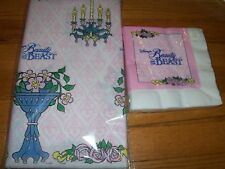 2pc Lot 1991 Beach Pink Beauty & the Beast Birthday Party Goods Multi-color NOS