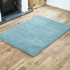 SMALL SIZE DUCK EGG BLUE THICK SOFT SHAGGY RUG NON SHED PILE MAT MODERN RUGS