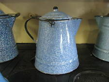 Antique Graniteware Blue Mottled Coffee Pot Large Boiler Bail Handle NM Wow