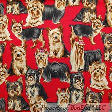 BonEful Fabric FQ Cotton Quilt Red Pink Brown Black Small Puppy Dog Bow Grooming