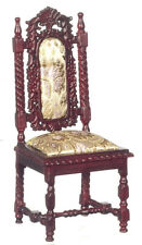 DOLLHOUSE MINIATURE Side Chair - Circa Charles II - Upholstered Gothic Tudor