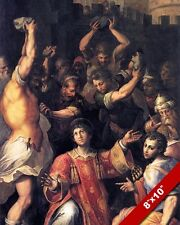 THE STONING OF SAINT STEPHEN PAINTING CHRISTIAN BIBLE ART REAL CANVAS PRINT