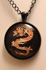 Fantasy Dragon Pendant Necklace, 30mm Glass Photo Cabochon, Free Shipping