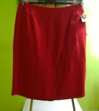 NEW SAKS Fifth Avenue The Works Red Irish Linen Skirt Womens 10 Made in USA NWT