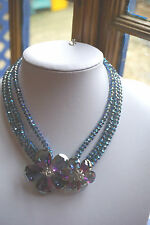 BUTLER & WILSON  Double Blue crystal flowers  necklace