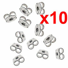 x10 earrings silver metal friction butterfly stud stoppers findings post back