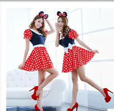Women Minnie Mouse Costume Polka Dot Cartoon Halloween Disney Fancy Dress Up