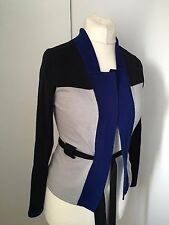 Karen Millen Blue Colour Block Wool Cardigan Belt KM 2 UK 10