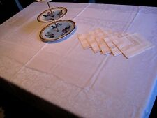 "Pretty Antique/Vintage PINK DAMASK Tablecloth + 5 Matching Napkins- 64"" x 50"""