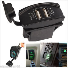 Waterproof Car Motorcycle Carling Rocker Switch Dual USB Power Charger Green LED